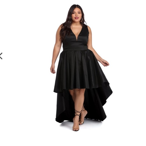 Windsor Dresses Plus Selena Black Taffeta High Low Dress Poshmark